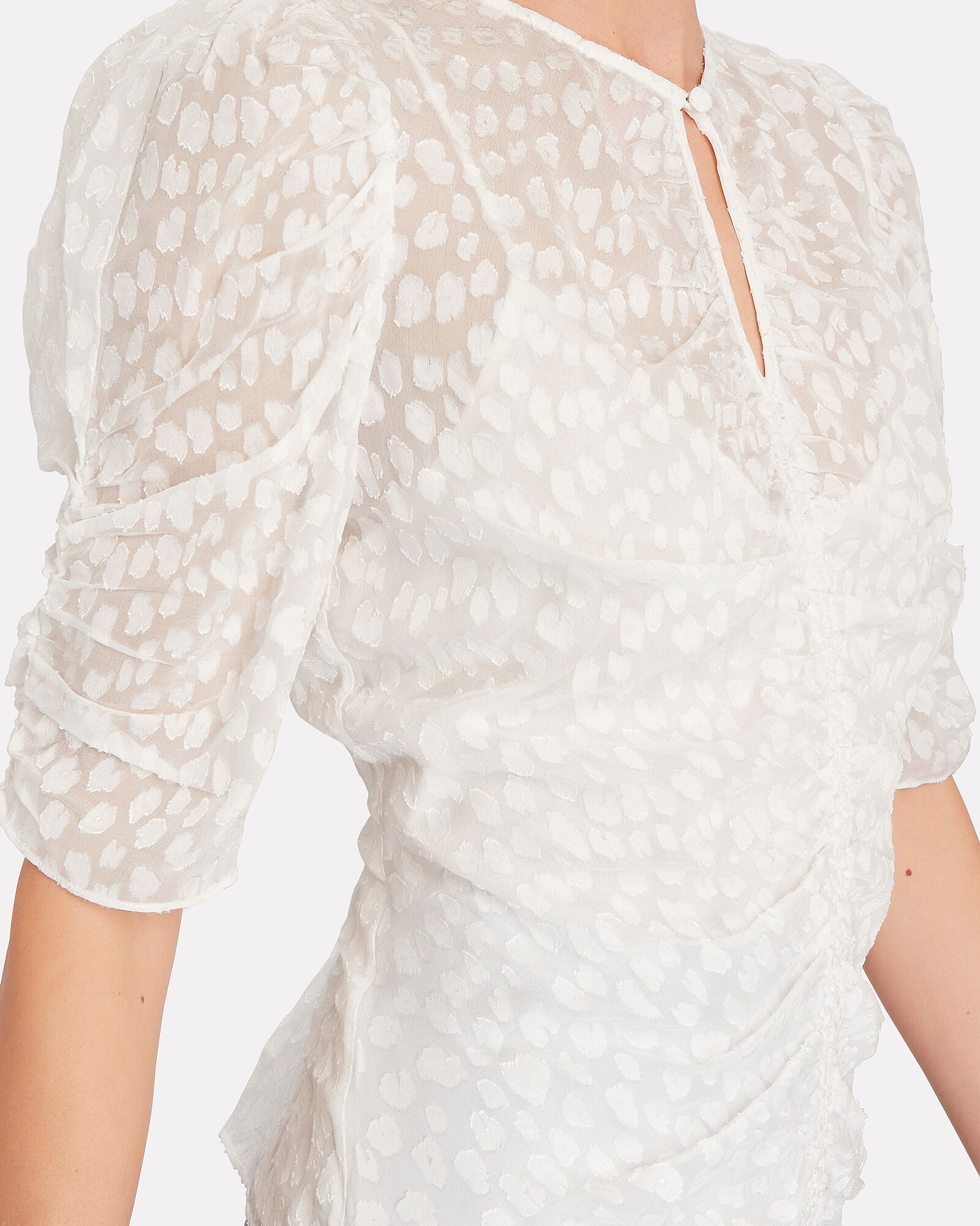 Shirred Fil Coupé Blouse, WHITE, hi-res