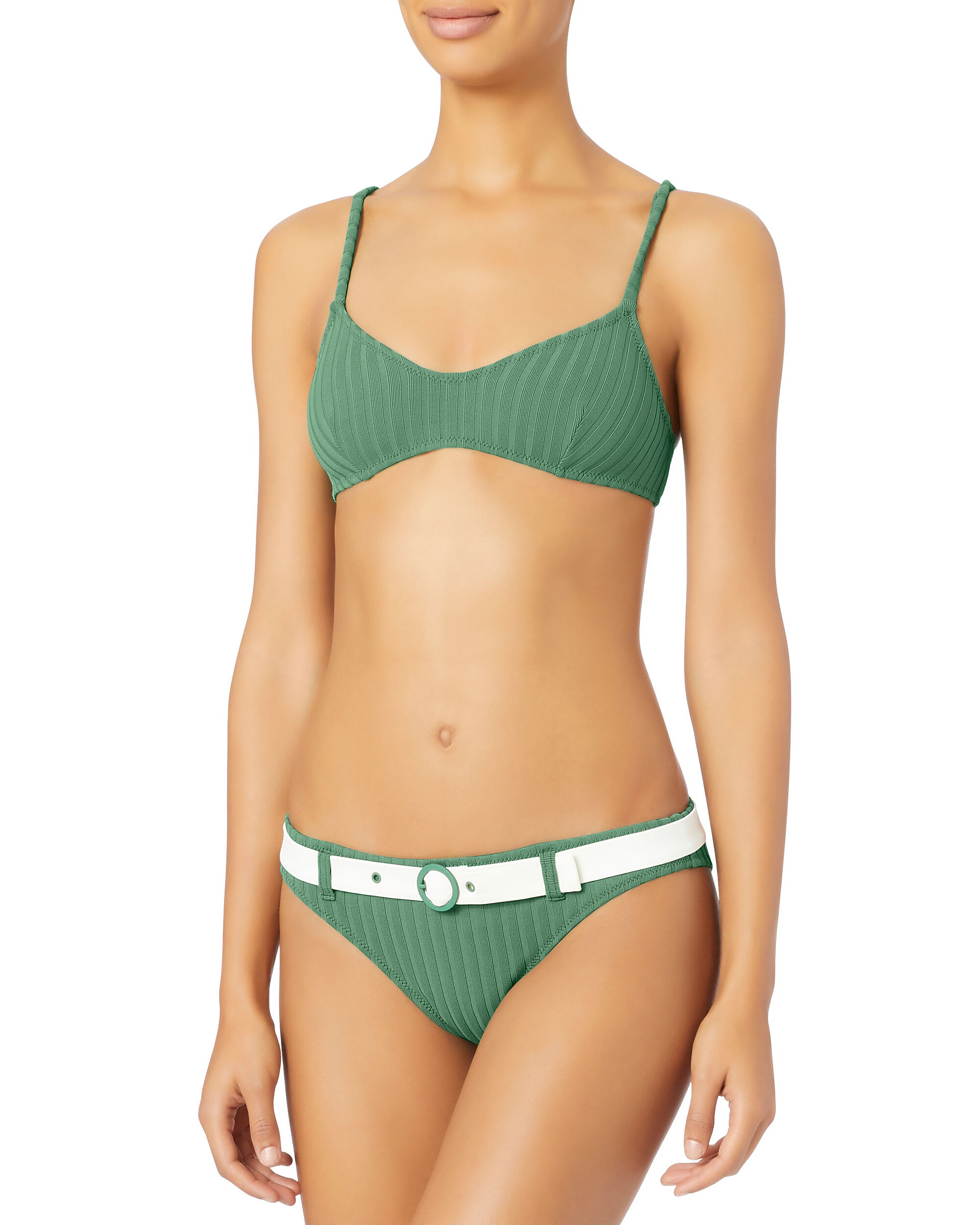 Rachel Emerald Belted Rib Bikini Bottom, EMERALD, hi-res