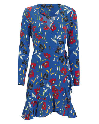 Evette Printed Dress, BLUE-MED, hi-res