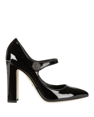 Black Patent Leather Mary Jane Pumps, BLACK, hi-res