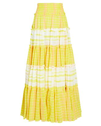 Wilderness Tiered Cotton Maxi Skirt, YELLOW, hi-res