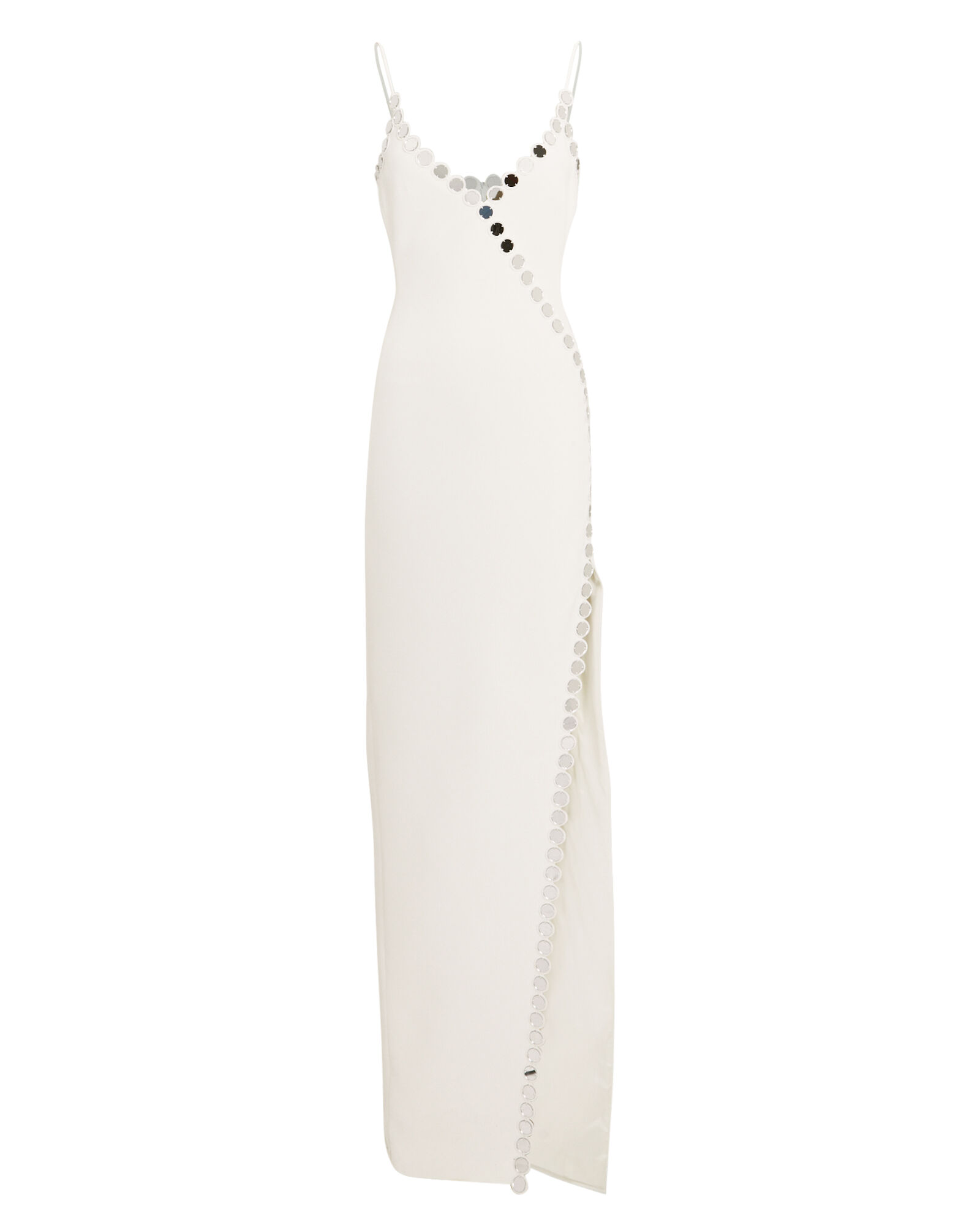 Mirror Embellished Strappy Gown, WHITE, hi-res