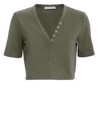 Snap Detail Army Green Crop Top, OLIVE/ARMY, hi-res