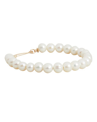 Pearl XL Safety Pin Bracelet, WHITE, hi-res