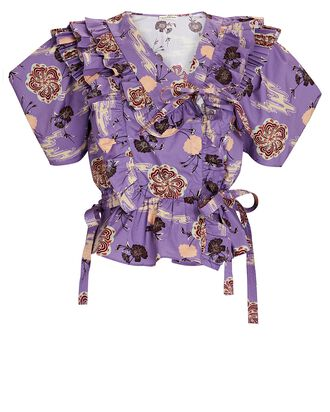Amata Ruffled Floral Poplin Blouse, PURPLE, hi-res