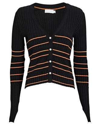 Lilliana Striped Rib Knit Cardigan, BLACK, hi-res