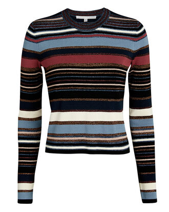 Palmas Lurex-Striped Sweater, BLUE/RED/BLACK, hi-res