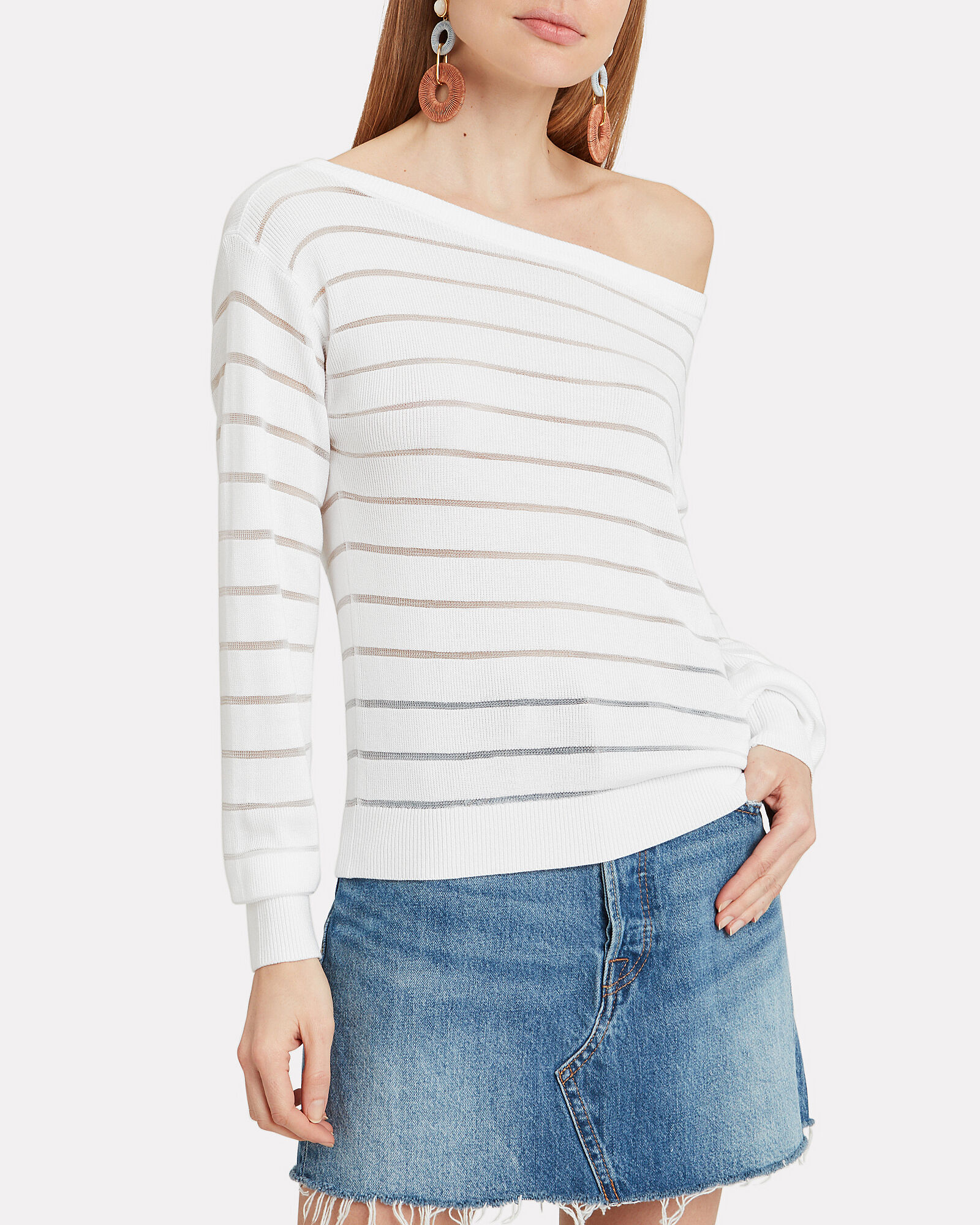 Striped Boat Neck Ribbed Sweater, WHITE, hi-res