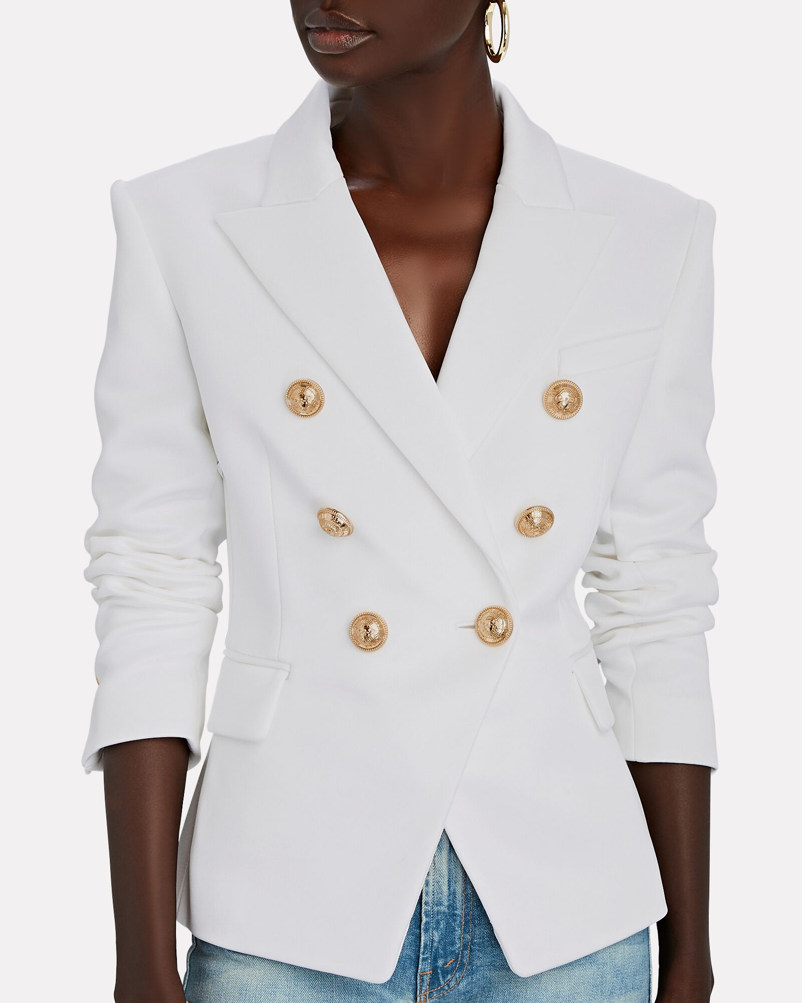 Double-Breasted Jersey Blazer, WHITE, hi-res