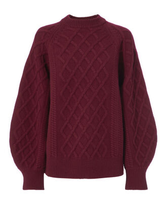 Aran Round Sleeve Sweater, RED-DRK, hi-res
