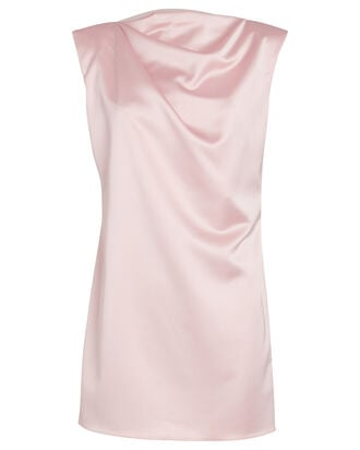 Structured Satin Shift Dress, PALE PINK, hi-res