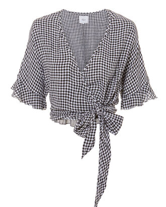 Athena Gingham Wrap Top, MULTI, hi-res