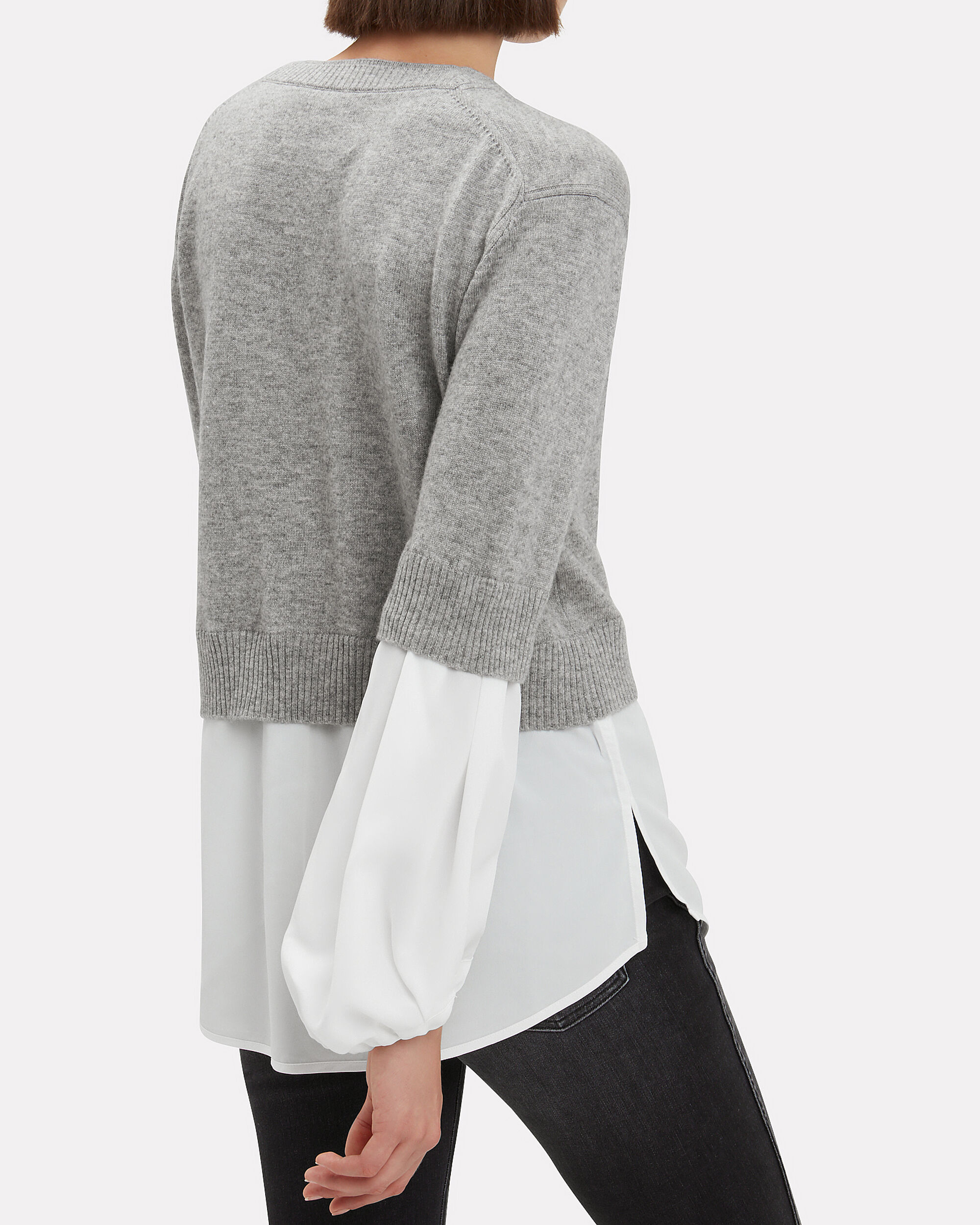 Ebele Cashmere Layered Sweater, GREY, hi-res