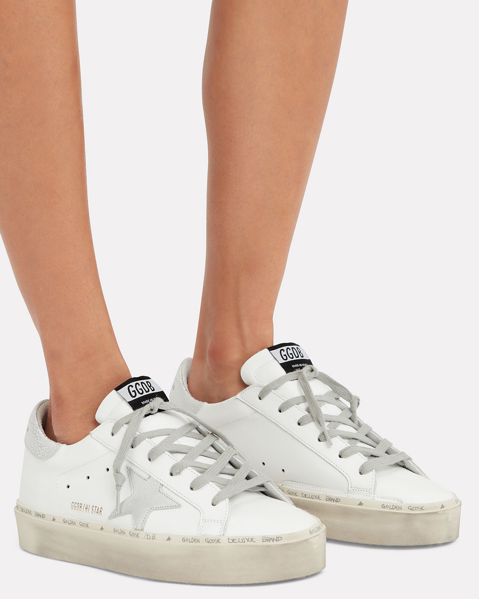 Hi Star White Leather Sneakers, WHITE, hi-res