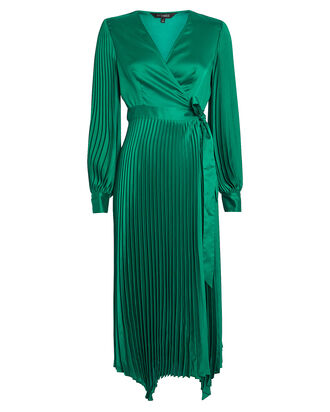 Allison Pleated Wrap Dress, TEAL, hi-res