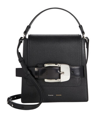 Trapeze Buckle Leather Bag, BLACK, hi-res