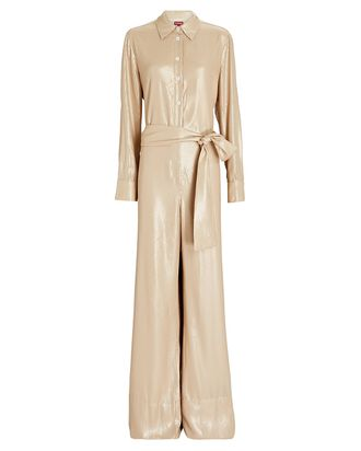 Joni Sequin Wide-Leg Jumpsuit, BEIGE, hi-res