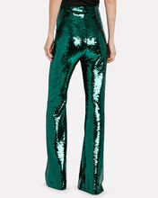 Newman Flared Sequin-Embellished Trousers, GREEN, hi-res
