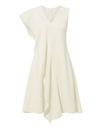 Ruffle Front Crepe Mini Dress, WHITE, hi-res