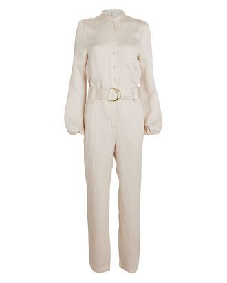 Ellington Linen-Blend Belted Jumpsuit, CREAM, hi-res