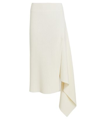 Sliced Rib Knit Merino Wool Skirt, IVORY, hi-res