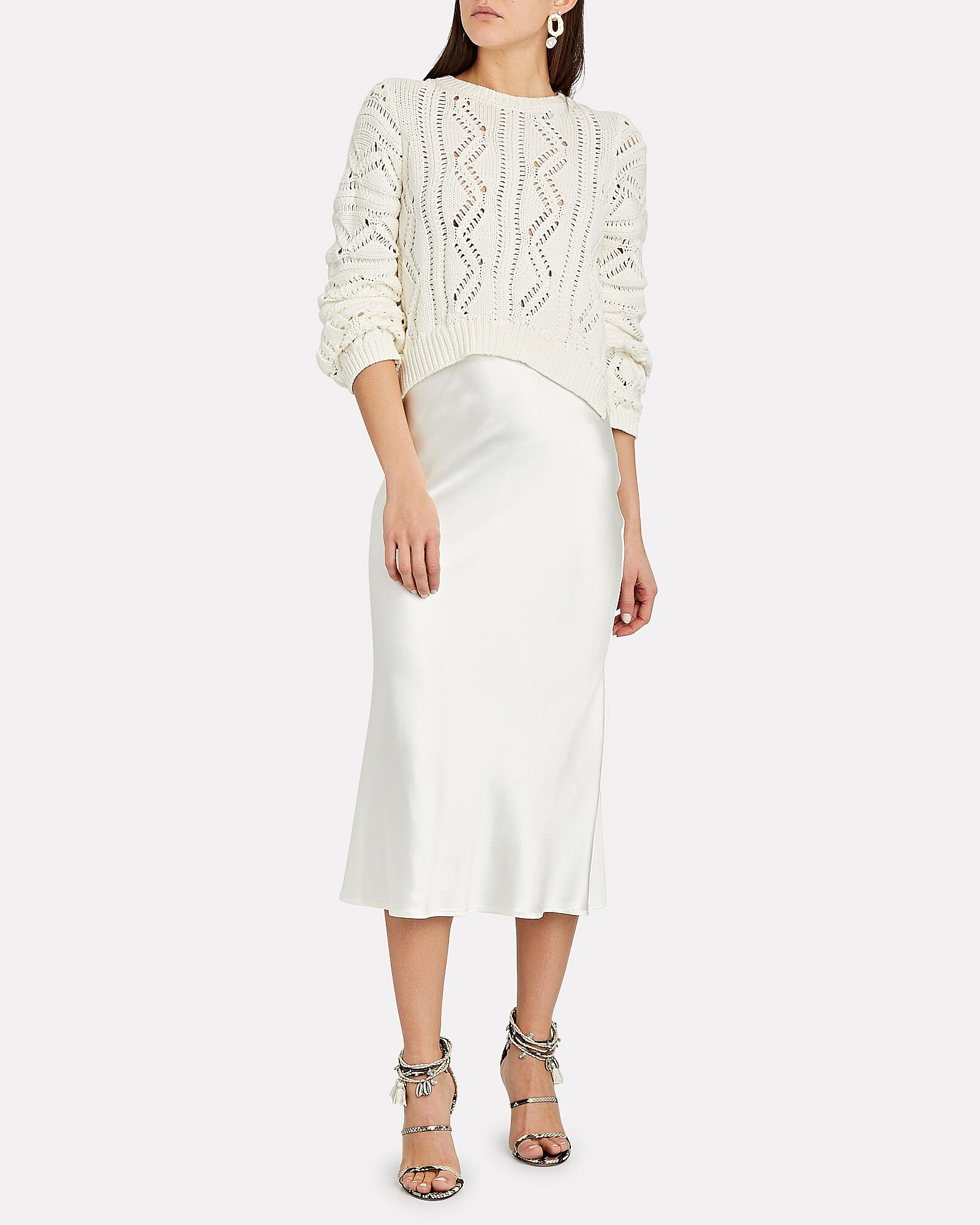 Madelyn Cropped Pointelle Sweater, WHITE, hi-res