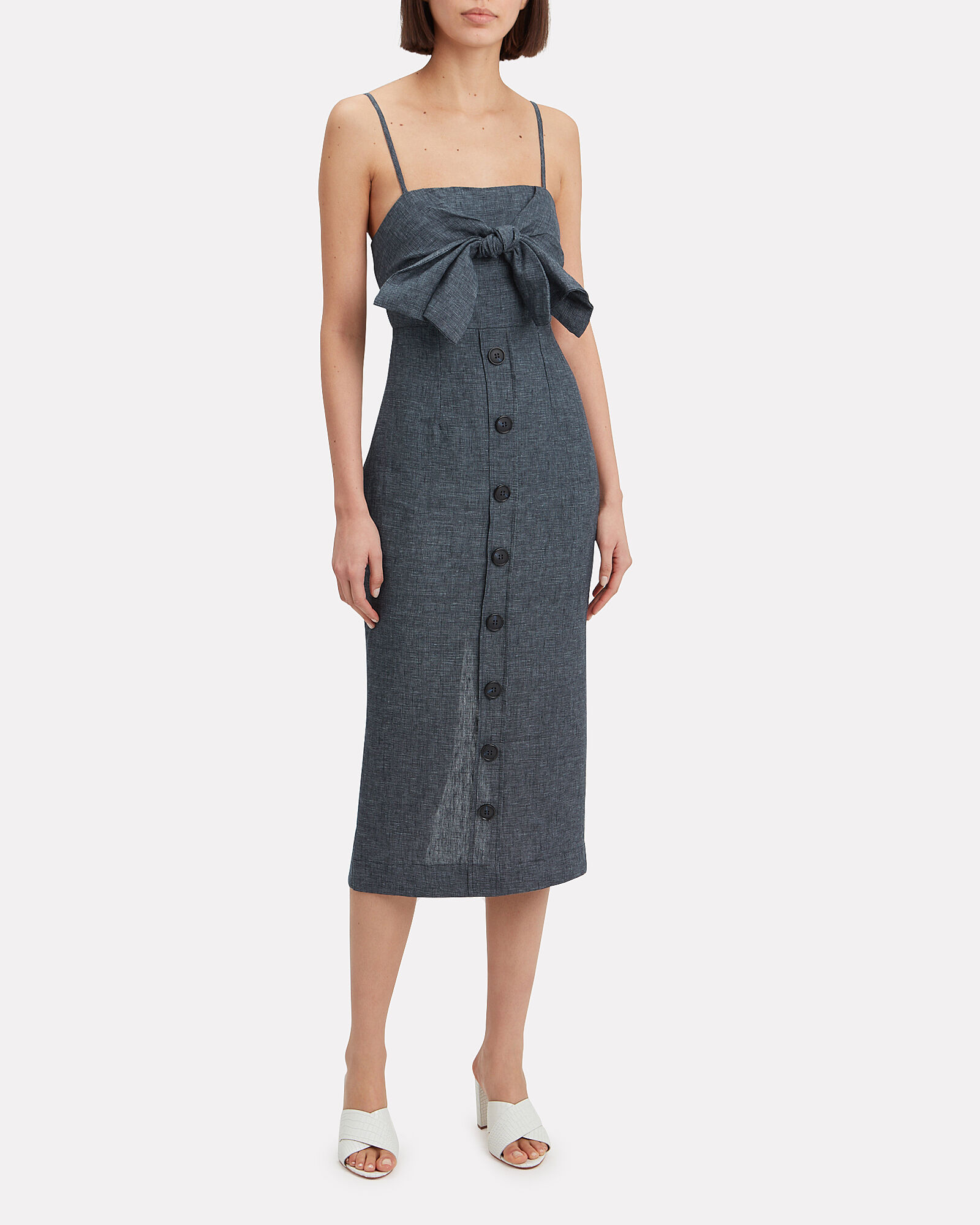 Cardozo Linen Dress, NAVY, hi-res