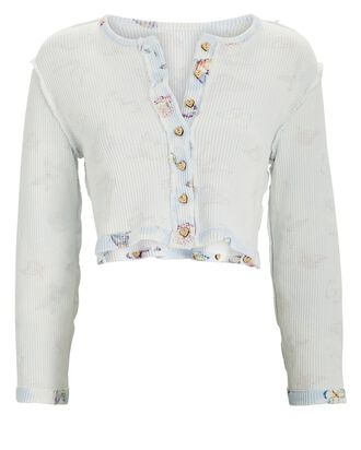 Glasgow Cropped Floral Cotton Cardigan, WHITE, hi-res