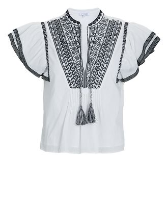 Adelle Embroidered Ruffle Blouse, BLK/WHT, hi-res
