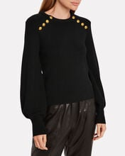Kayla Button-Embellished Wool Sweater, BLACK, hi-res
