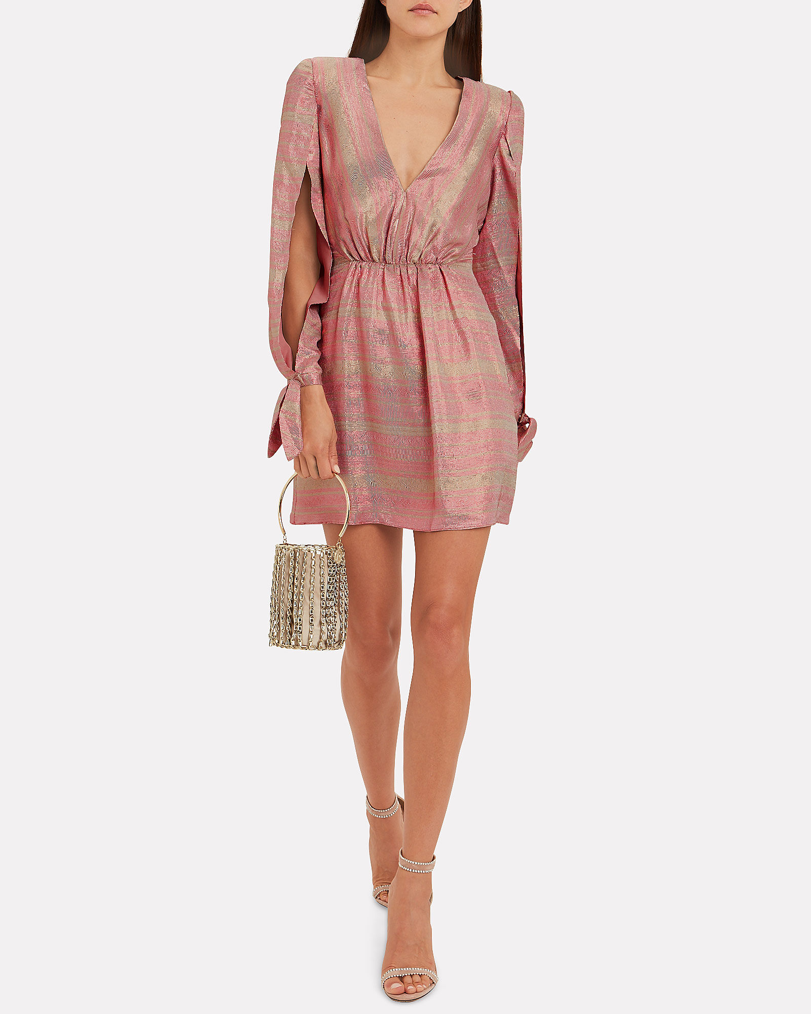 Joplin Gathered Metallic Silk Mini Dress, PINK, hi-res