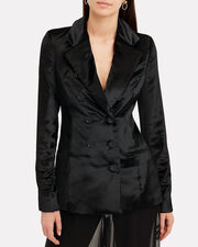 Double-Breasted Velvet Blazer, BLACK, hi-res