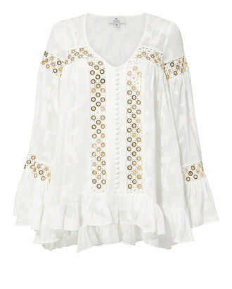 Stephanie Gold Grommet Blouse, IVORY, hi-res