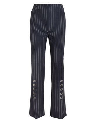 Pinstriped Tailored Cigarette Pants, NAVY, hi-res