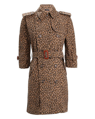 Leopard Double-Breasted Trench Coat, BEIGE LEOPARD PRINT, hi-res