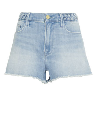 Le Braided Waistband Denim Shorts, LIGHT BLUE DENIM, hi-res