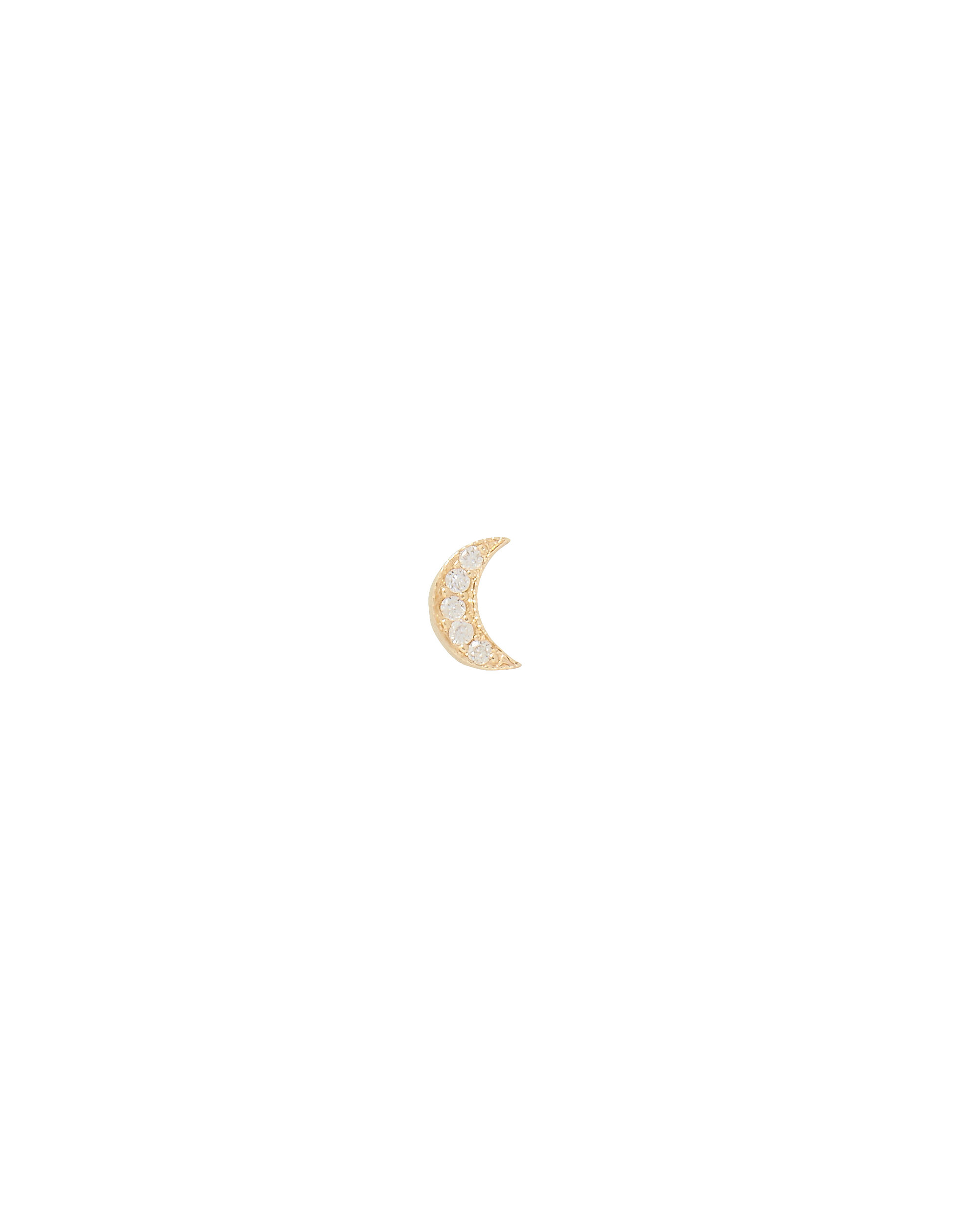 Itty Bitty Diamond Moon Single Earring, GOLD, hi-res