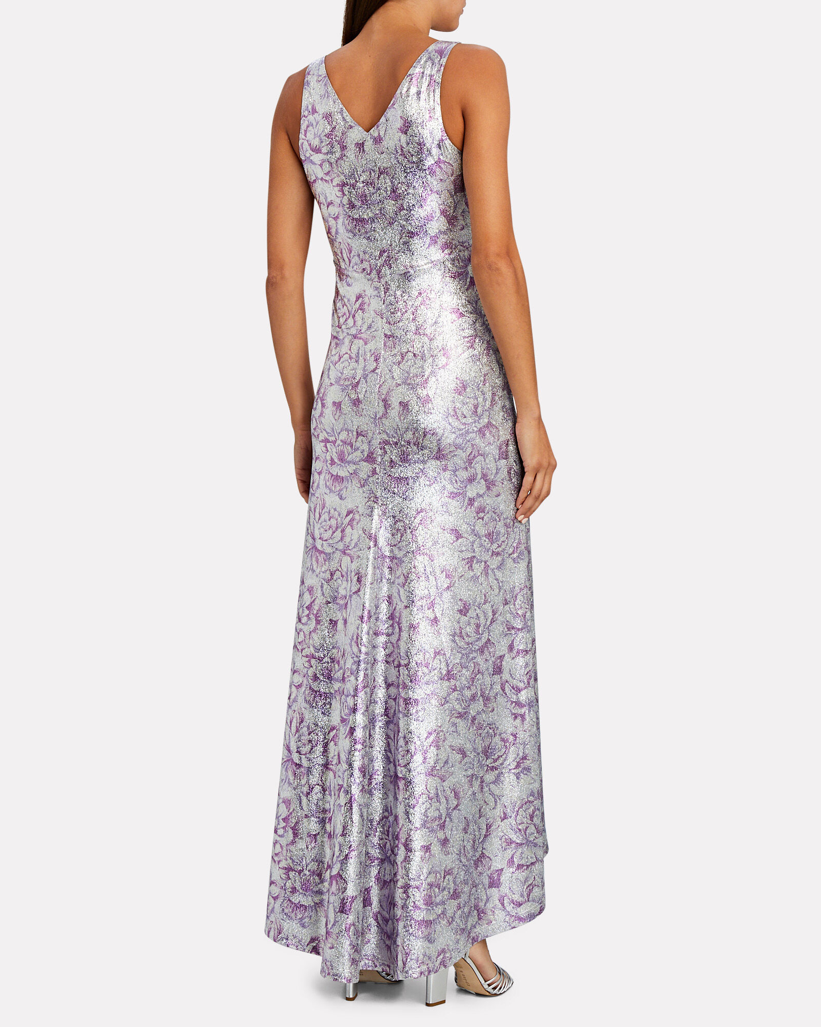 Lurex Floral Sleeveless Maxi Dress, SILVER/PURPLE, hi-res