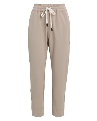 Cropped Taper Twill Sweatpants, BEIGE, hi-res