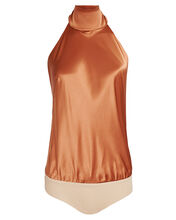 Laight Silk Halter Bodysuit, BROWN, hi-res