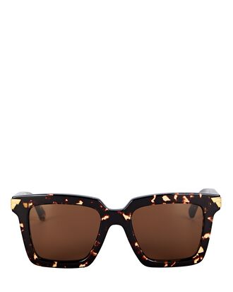 Oversized Rectangular Sunglasses, BROWN, hi-res