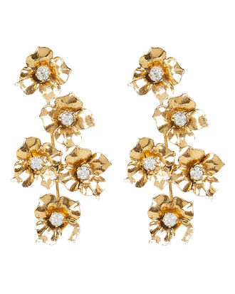 Myra Flower Drop Earrings, YELLOW GOLD, hi-res