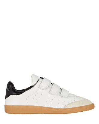 Beth Velcro Leather Sneakers, WHITE, hi-res