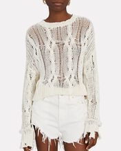 Mitzy Distressed Cable Knit Sweater, WHITE, hi-res