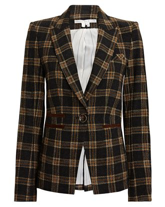 Gia Plaid Dickey Blazer, BLACK/BROWN, hi-res