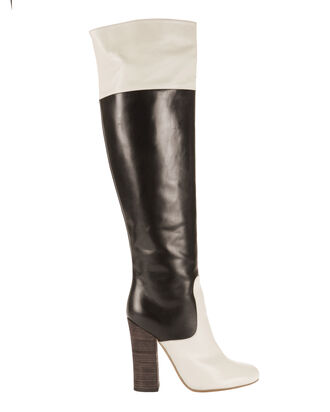 Colorblock Knee High Boots, BLACK/WHITE, hi-res
