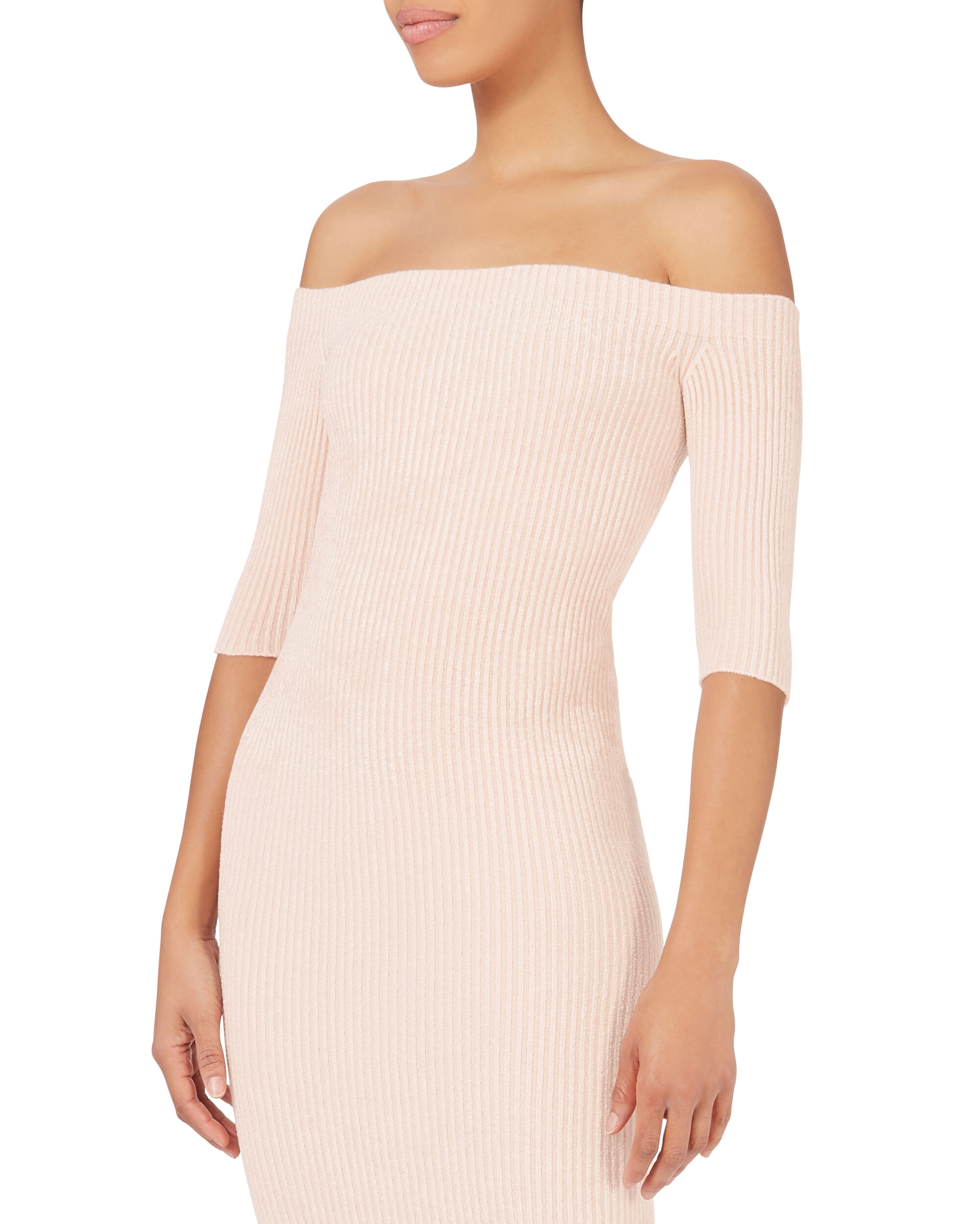 Seamless Velveteen Off Shoulder Dress, BLUSH, hi-res