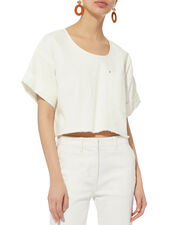 Tinsley Denim Top, WHITE, hi-res