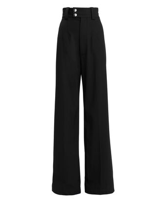 Snap Button Detail Wool Trousers, BLACK, hi-res