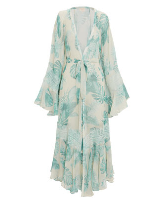 Floral Beach Robe, IVORY/TEAL, hi-res